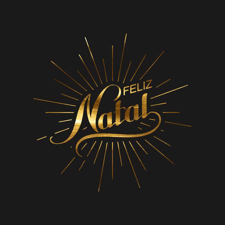 joyeux: Merry Christmas. Feliz Natal. Holiday Illustration. Golden Christmas Label With Light Rays Burst