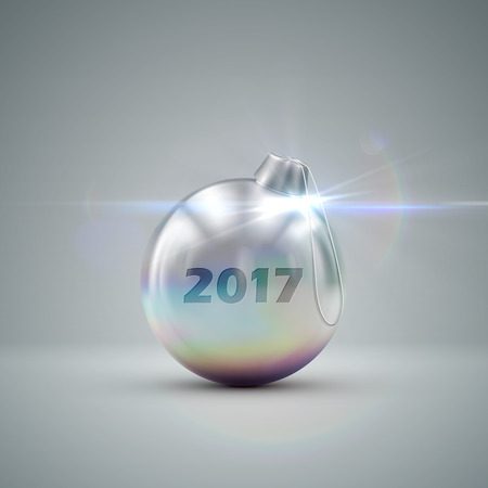 knickknack: Silver Christmas ball. Holiday illustration of traditional festive Xmas bauble. Merry Christmas and Happy New 2017 Year greeting card design element.