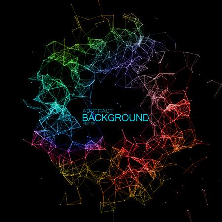 Abstracte vector iriserende verlichte deeltjes en lijnen. Plexus-effect. Futuristische vectorillustratie. Veelhoekige cyberstructuur. Data Connection Concept.