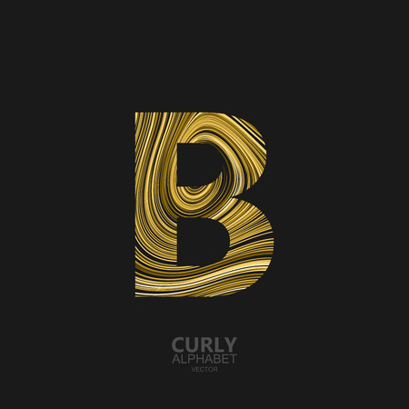 diffusion: Curly textured Letter B. Typographic vector element for design. Part of marble or acrylic texture imitation textured alphabet. Letter B with diffusion lines swirly pattern. Vector illustration Illustration