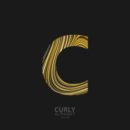diffusion: Curly textured Letter C. Typographic vector element for design. Part of marble or acrylic texture imitation textured alphabet. Letter C with diffusion lines swirly pattern. Vector illustration