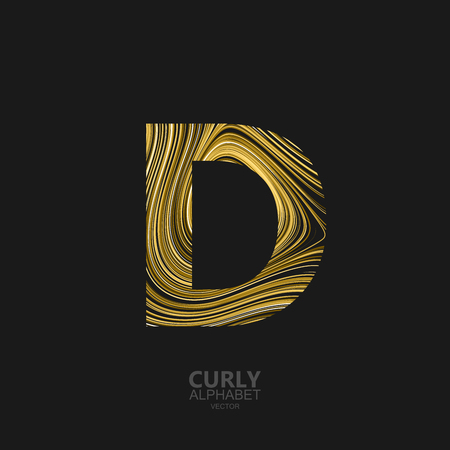 diffusion: Curly textured Letter D. Typographic vector element for design. Part of marble or acrylic texture imitation textured alphabet. Letter D with diffusion lines swirly pattern. Vector illustration Illustration