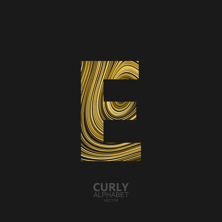Curly textured Letter E. Typographic vector element for design. Part of marble or acrylic texture imitation textured alphabet. Letter E with diffusion lines swirly pattern. Vector illustration