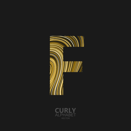diffusion: Curly textured Letter F. Typographic vector element for design. Part of marble or acrylic texture imitation textured alphabet. Letter F with diffusion lines swirly pattern. Vector illustration