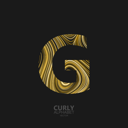 Curly textured Letter G. Typographic vector element for design. Part of marble or acrylic texture imitation textured alphabet. Letter G with diffusion lines swirly pattern. Vector illustration
