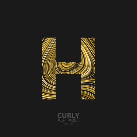 Curly textured Letter H. Typographic vector element for design. Part of marble or acrylic texture imitation textured alphabet. Letter H with diffusion lines swirly pattern. Vector illustration
