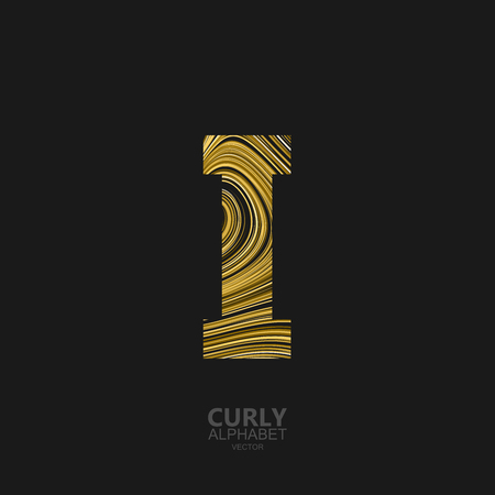 diffusion: Curly textured Letter I. Typographic vector element for design. Part of marble or acrylic texture imitation textured alphabet. Letter I with diffusion lines swirly pattern. Vector illustration