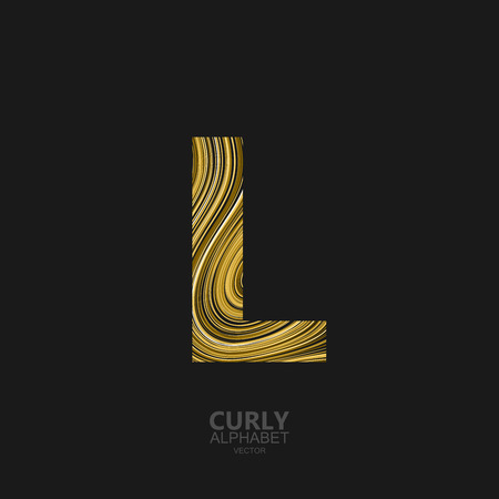diffusion: Curly textured Letter L. Typographic vector element for design. Part of marble or acrylic texture imitation textured alphabet. Letter L with diffusion lines swirly pattern. Vector illustration