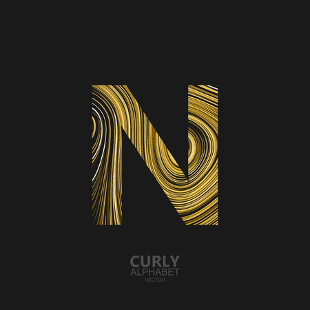 diffusion: Curly textured Letter N. Typographic vector element for design. Part of marble or acrylic texture imitation textured alphabet. Letter N with diffusion lines swirly pattern. Vector illustration