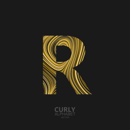 diffusion: Curly textured Letter R. Typographic vector element for design. Part of marble or acrylic texture imitation textured alphabet. Letter R with diffusion lines swirly pattern. Vector illustration