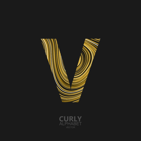 diffusion: Curly textured Letter V. Typographic vector element for design. Part of marble or acrylic texture imitation textured alphabet. Letter V with diffusion lines swirly pattern. Vector illustration