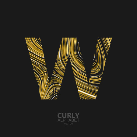 Curly textured Letter W. Typographic vector element for design. Part of marble or acrylic texture imitation textured alphabet. Letter W with diffusion lines swirly pattern. Vector illustration Illustration