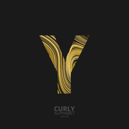 diffusion: Curly textured Letter Y. Typographic vector element for design. Part of marble or acrylic texture imitation textured alphabet. Letter Y with diffusion lines swirly pattern. Vector illustration Illustration
