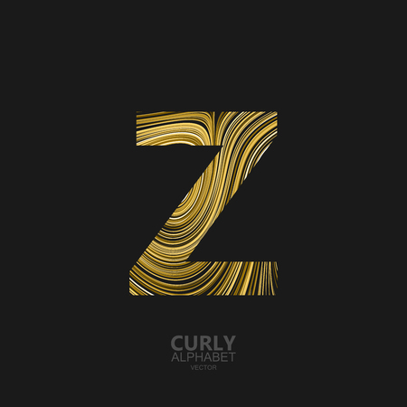 Curly textured Letter Z. Typographic vector element for design. Part of marble or acrylic texture imitation textured alphabet. Letter Z with diffusion lines swirly pattern. Vector illustration Illustration