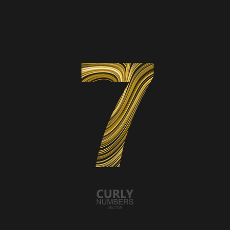 diffusion: Curly textured number 7. Typographic vector element for design. Part of marble or acrylic texture imitation textured alphabet. Digit seven with diffusion lines swirly pattern. Vector illustration