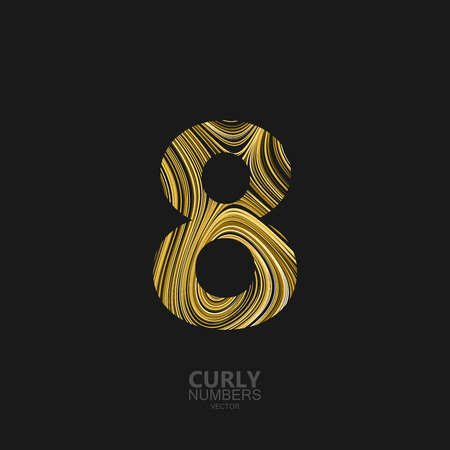 diffusion: Curly textured number 8. Typographic vector element for design. Part of marble or acrylic texture imitation textured alphabet. Digit eight with diffusion lines swirly pattern. Vector illustration