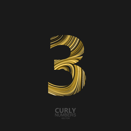 diffusion: Curly textured number 3. Typographic vector element for design. Part of marble or acrylic texture imitation textured alphabet. Digit three with diffusion lines swirly pattern. Vector illustration Illustration
