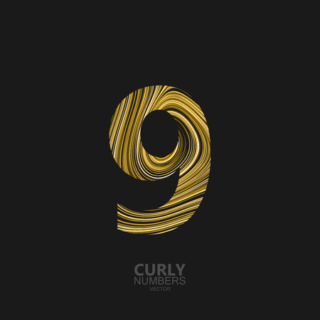 Curly textured number 9. Typographic vector element for design. Part of marble or acrylic texture imitation textured alphabet. Digit nine with diffusion lines swirly pattern. Vector illustration
