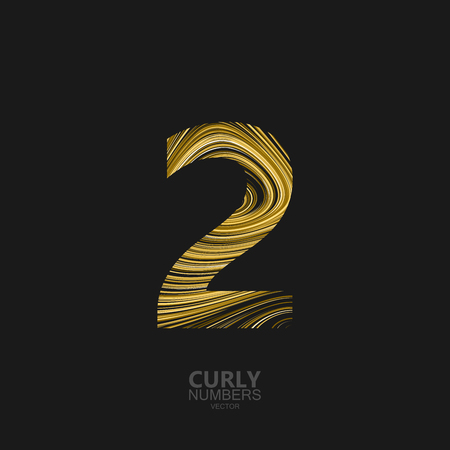 Curly textured number 2. Typographic element for design. Part of marble or acrylic texture imitation textured alphabet. Digit two with diffusion lines swirly pattern. illustration