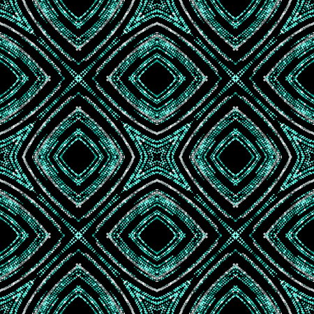 Luxury festive seamless pattern with shiny turquoise and silver glitters. illustration of glittering seamless background. Applicable for print, fabric or package design. Moroccan pattern