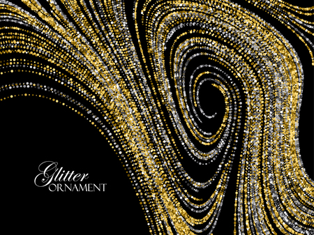 shiny background: Luxury holiday background with shiny golden and silver glitters. illustration of glittering curled lines pattern. Vintage jewelery ornament. Festive paillettes decoration Illustration