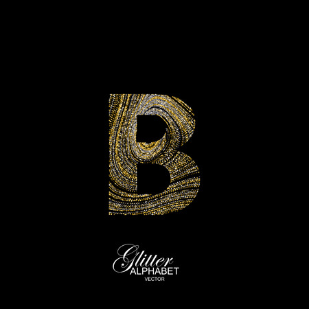 diffusion: Letter B of golden and silver glitters. Typographic element for design. Part of marble texture imitation alphabet. Letter B with diffusion glitter lines swirly pattern. illustration