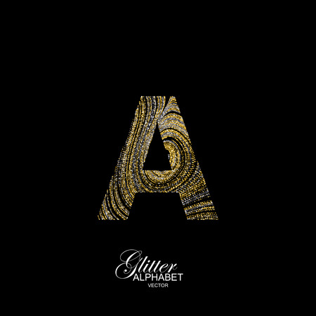 diffusion: Letter A of golden and silver glitters. Typographic element for design. Part of marble texture imitation alphabet. Letter A with diffusion glitter lines swirly pattern. illustration