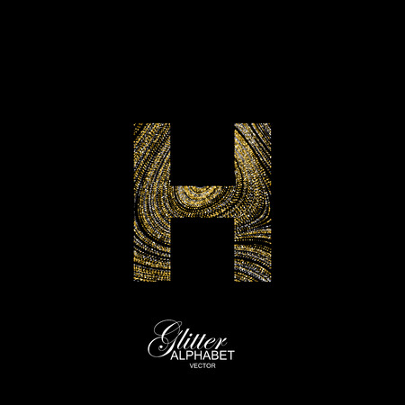 diffusion: Letter H of golden and silver glitters. Typographic element for design. Part of marble texture imitation alphabet. Letter H with diffusion glitter lines swirly pattern. illustration