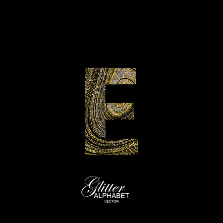 diffusion: Letter E of golden and silver glitters. Typographic element for design. Part of marble texture imitation alphabet. Letter E with diffusion glitter lines swirly pattern. illustration Illustration