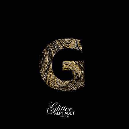 liquid g: Letter G of golden and silver glitters. Typographic element for design. Part of marble texture imitation alphabet. Letter G with diffusion glitter lines swirly pattern. illustration