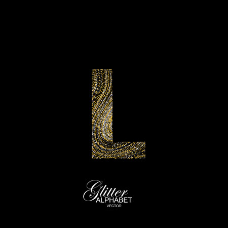 Letter L of golden and silver glitters. Typographic element for design. Part of marble texture imitation alphabet. Letter L with diffusion glitter lines swirly pattern. illustration