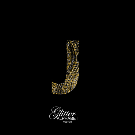 diffusion: Letter J of golden and silver glitters. Typographic element for design. Part of marble texture imitation alphabet. Letter J with diffusion glitter lines swirly pattern. illustration