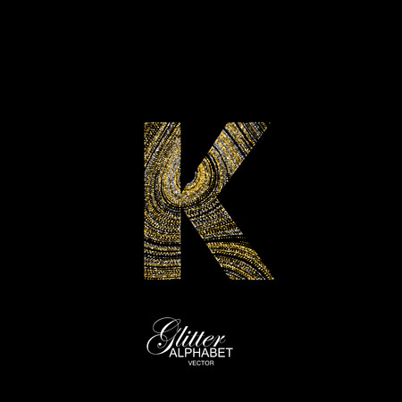 diffusion: Letter K of golden and silver glitters. Typographic element for design. Part of marble texture imitation alphabet. Letter K with diffusion glitter lines swirly pattern. illustration