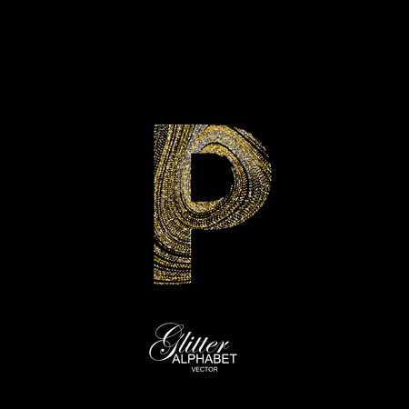 diffusion: Letter P of golden and silver glitters. Typographic element for design. Part of marble texture imitation alphabet. Letter P with diffusion glitter lines swirly pattern. illustration Illustration