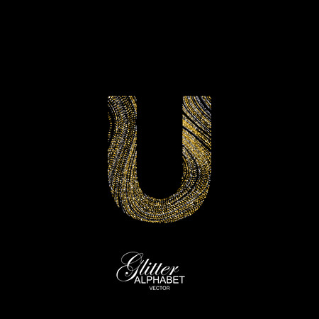 diffusion: Letter U of golden and silver glitters. Typographic element for design. Part of marble texture imitation alphabet. Letter U with diffusion glitter lines swirly pattern. illustration