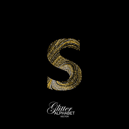 diffusion: Letter S of golden and silver glitters. Typographic element for design. Part of marble texture imitation alphabet. Letter S with diffusion glitter lines swirly pattern. illustration