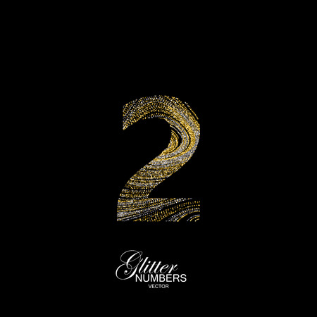 diffusion: Number 2 of golden and silver glitters. Typographic element for design. Part of marble texture imitation alphabet. Digit two with diffusion glitter lines swirly pattern. illustration