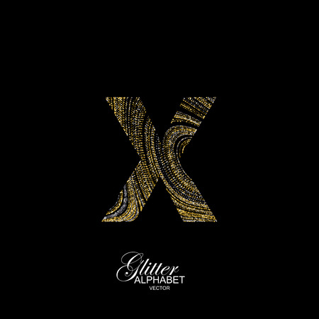 diffusion: Letter X of golden and silver glitters. Typographic element for design. Part of marble texture imitation alphabet. Letter X with diffusion glitter lines swirly pattern. illustration