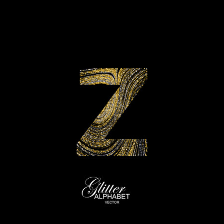 diffusion: Letter Z of golden and silver glitters. Typographic element for design. Part of marble texture imitation alphabet. Letter Z with diffusion glitter lines swirly pattern. illustration