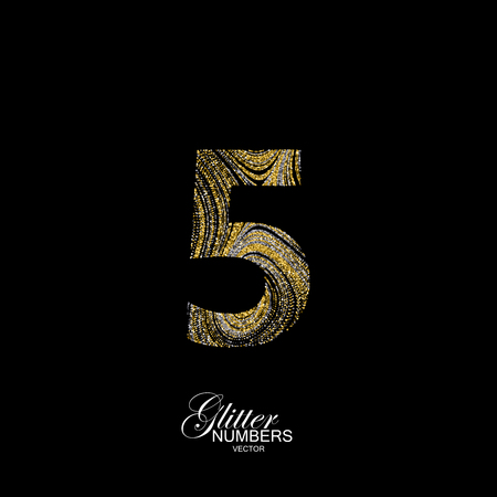 diffusion: Number 5 of golden and silver glitters. Typographic element for design. Part of marble texture imitation alphabet. Digit five with diffusion glitter lines swirly pattern. illustration