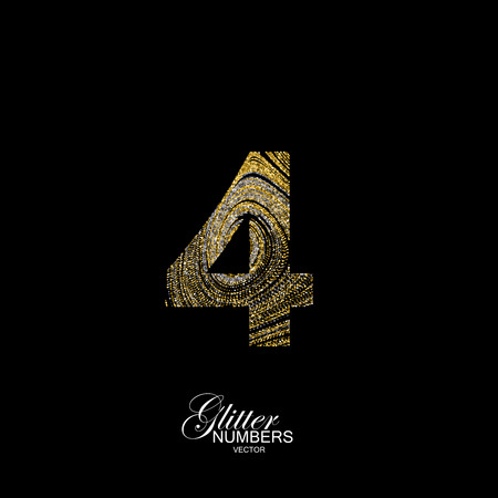 diffusion: Number 4 of golden and silver glitters. Typographic  element for design. Part of marble texture imitation alphabet. Digit four with diffusion glitter lines swirly pattern. illustration