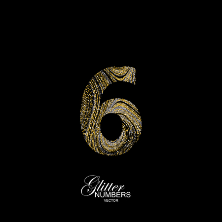 Number 6 of golden and silver glitters. Typographic element for design. Part of marble texture imitation alphabet. Digit six with diffusion glitter lines swirly pattern. illustration