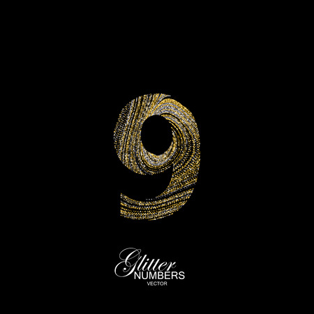 diffusion: Number 9 of golden and silver glitters. Typographic element for design. Part of marble texture imitation alphabet. Digit nine with diffusion glitter lines swirly pattern. illustration