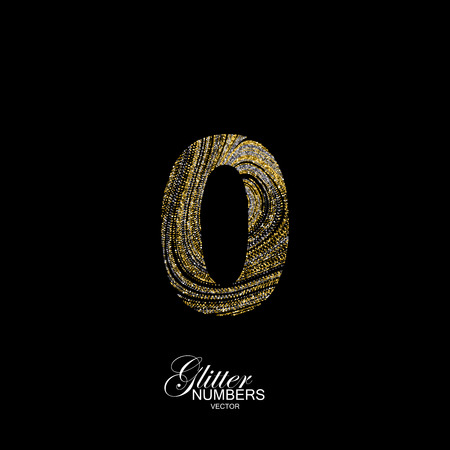 Number 0 of golden and silver glitters. Typographic element for design. Part of marble texture imitation alphabet. Digit zero with diffusion glitter lines swirly pattern. illustration