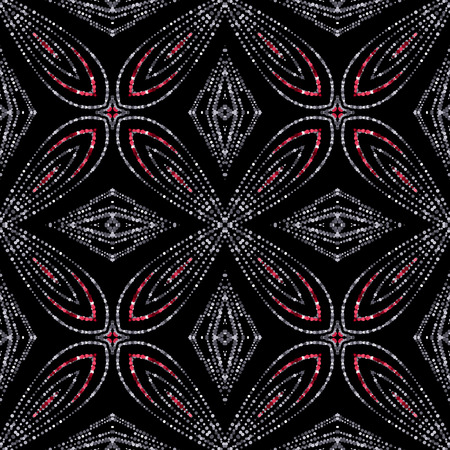 Luxury festive seamless pattern with shiny red ruby and silver glitters. illustration of glittering seamless background. Applicable for print, fabric or package design Illustration