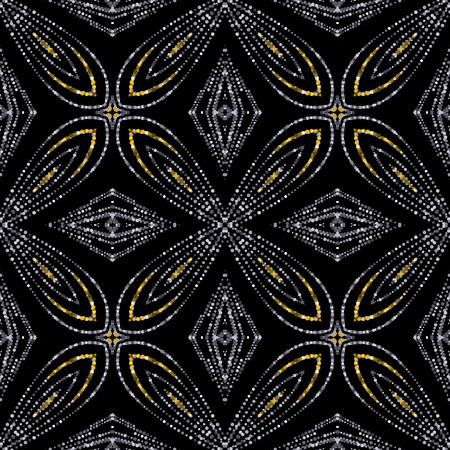 Luxury festive seamless pattern with shiny golden and silver glitters. illustration of glittering seamless background. Applicable for print, fabric or package design