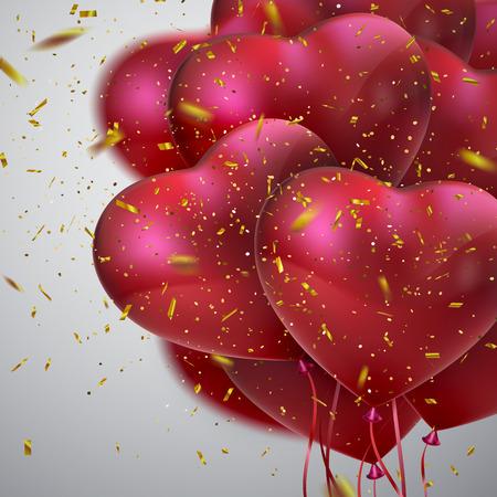 Balloon Hearts. Illustration