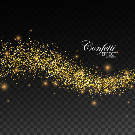 Reluciente oro corriente de chispas. Ilustración de vector