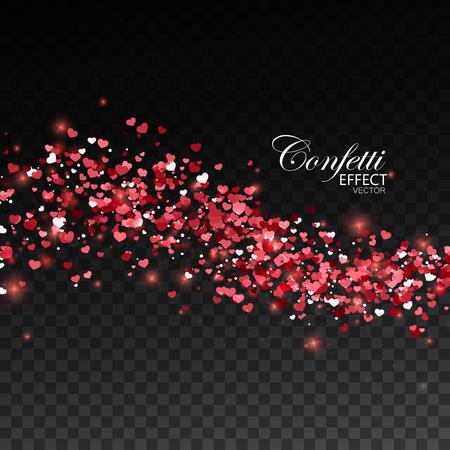 Red glittering heart confetti