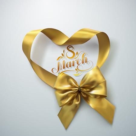 8 maart. Internationale vrouwendag. Vectorvakantieillustratie van gouden linthart en boog met van letters voorziend etiket. Feestelijke decoratie Vector Illustratie
